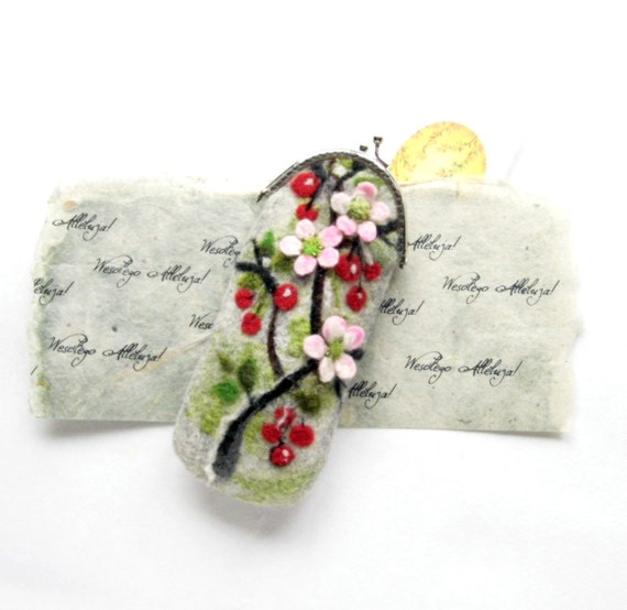 Wet Felted Eyeglasses case with Cherry blossoms Easter Spring motives Ready to Ship