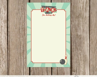 Bowling Birthday Thank You Card Retro Birthday Party  - Instant Download Printable PDF File