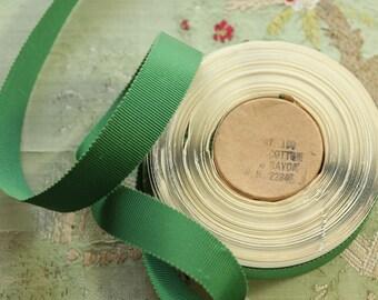"10 yard roll Vintage cotton rayon grosgrain ribbon for ribbonwork millinery 11/16"" rustic green flapper trim hat brim millinery"