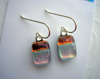 Petite Earrings Dichroic Glass Copper and Pearl Gray 925 Sterling Silver Petite Fused Kiln Glass Jewelry Tiny Lightweight Dangles Iridescent