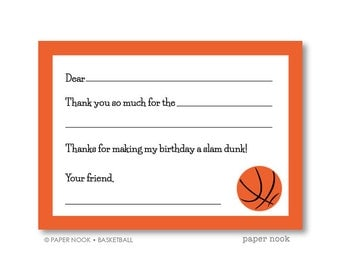 Basketball PRINTABLE Fill-in-the-Blank Thank You Note