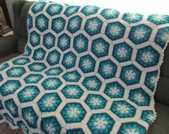 Handmade Crochet Teal and Aqua Kaleidoscope Afghan  48 x 68