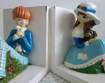 1960's  Pair Story Book Bookends by Earl Bernard, Japan - Nursery Decor, Childs Bookends - Shabby Chic Collectable - Boho Library - Bobann