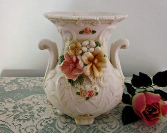 """Vintage Victorian Style 6"""" Tall Vase - Romantic Style Footed Vase - Capodimonte Roses Vase - Collectable - Cottage Chic  - Beautiful Home"""