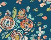 Teal Mustard Peach and Aqua Floral Voile, Fleet & Flourish Maureen Cracknell Art Gallery, Swifting Floral Swell, 1 yard