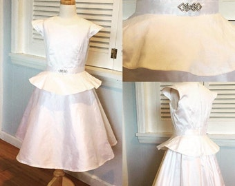 Shantung Silk Modern yet Classic Peplum Cap Sleeved White First Communion or Flower Girl Dress with Rhinestone detail size 8 MB10036