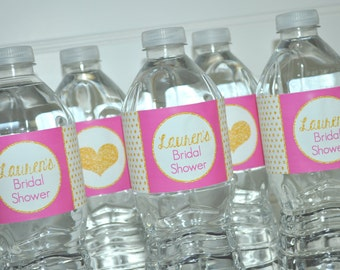 Bridal Shower Water Bottle Labels, Wedding Water Bottle Labels, Drink Labels, Bachelorette Party Decorations, Pink, Black, Gold - Set of 10