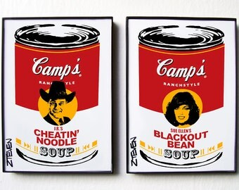 Dallas J.R. and Sue Ellen Ewing original framed Pop Art Soup set by Zteven