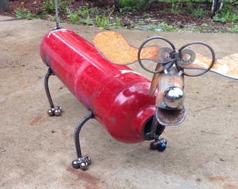 Fire extinguisher dog recycled garden yard art