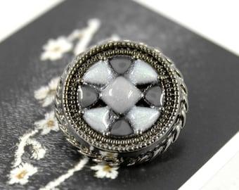 Metal Buttons - Bluish Lattice Gunmetal Color Shank Metal Buttons - 0.87 inch - 4 pcs.