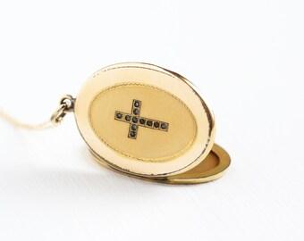 Antique 14k Gold Filled Rhinestone Cross Locket Necklace - Vintage Edwardian 1910 Religious Catholic Large Pendant Fob Jewelry