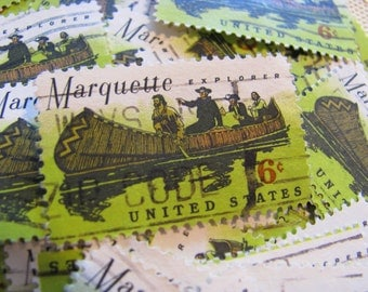 Marquette 50 Vintage US Postage Stamps 6c Sault Sainte Marie Michigan Upper Penisula Green Great Lakes Wedding Decorations Ephemera Canoe