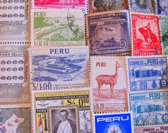 Incan Empire 50 Vintage Peruvian Postage Stamps Republic of Peru South America Andes Lima Latin Love Machu Picchu Inca Worldwide Philately