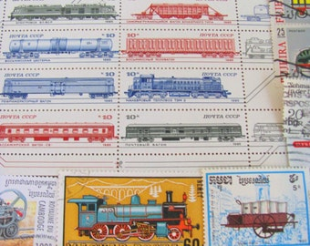 Do The Locomotion 50 Premium Vintage Modern Postage Stamps Trains Trainspotting Caboose Railway Railroad Steam Locomotive Passenger Coach