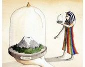 Dream #15 - Fine Art Giclee Print Reproduction of an Original Watercolor and Ink Illustration - Mount Rainier - Egyptian