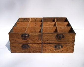 Vintage Divided Wood Drawers with Handles / Storage Organization / Set of 4 Drawers / Oak and Galvanized Metal