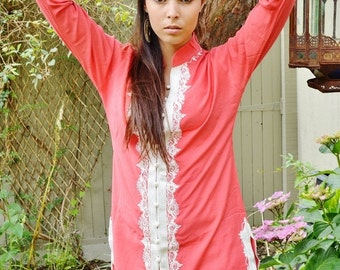 Summer Sale Handmade Salmon Pink and White Moroccan Tunic-perfect for birthday gifts, holiday wear, casual wear