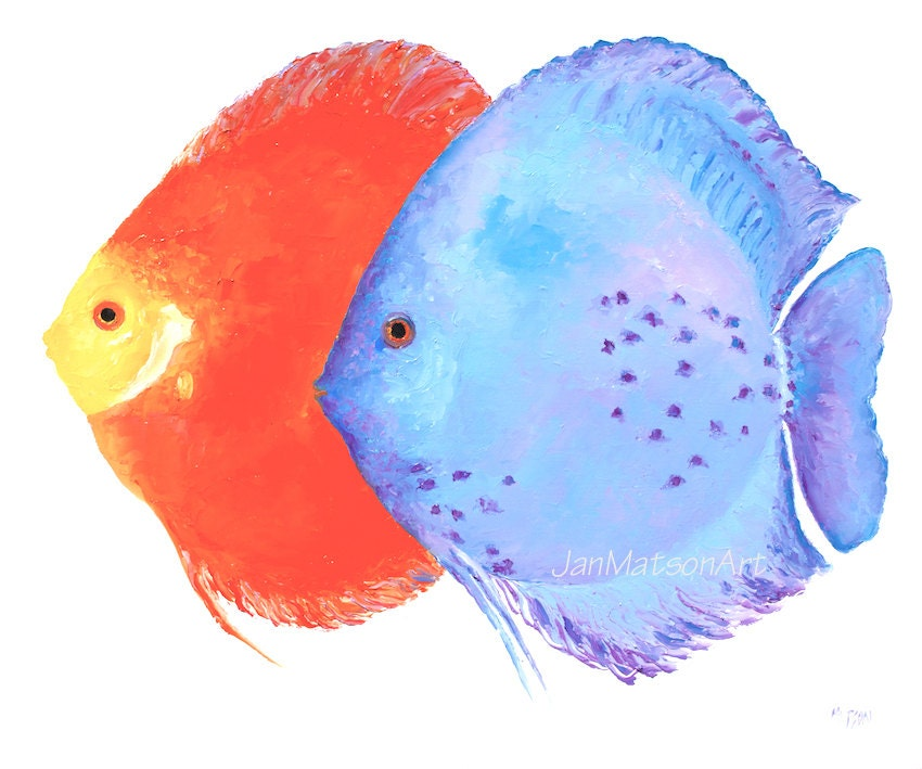 Discus fish painting tropical fish art canvas art aquarium for Tropical fish painting