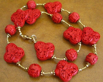 Vintage Chinese Carved Faux Red Cinnabar Bead Gold Necklace