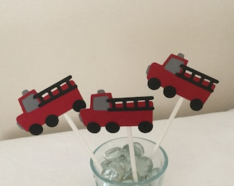 12 Red and Gray Firetruck  Cupcake Toppers Fire Truck