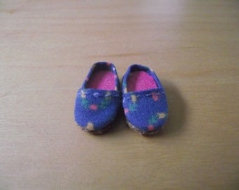 light blue with flowers slip on flats shoes for Pullip / obitsu