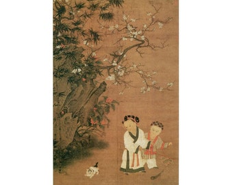 "RARE Chinese Art Print of ""Children at Play on a Winter Day"" - Song Dynasty ROC Taipei Taiwan - Artist Anonymous"