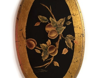 Florentine Style Oval Wood Wall Hanging Plaque Botanical Painting