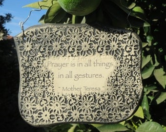 Handmade Mother Teresa Inspirational Ceramic Plaque