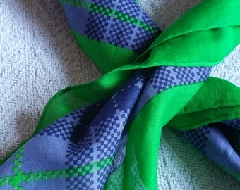 Cotton GUCCI Scarf blue green plaid summer