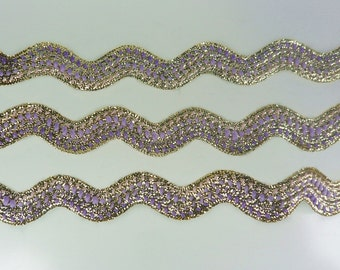 Pink Violet Gold Metallic Ric Rac Zig Zag Trim Sewing Tape Lace Gift Ribbon Embellishments 3 Yards