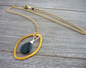 Wire wrapped blue labradorite briolette gold filled necklace. Something blue.