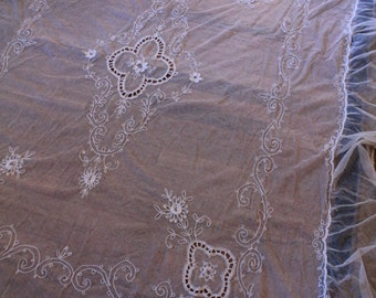 Antique All Lace Bedspread Bed Cover Netting Embroidered Tambour French Lace
