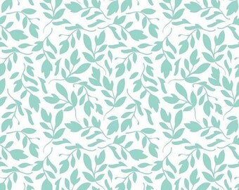 ON SALE Primrose Garden Aqua Leaves Riley Blake Cotton Quilt Fabric by 1/2 yard