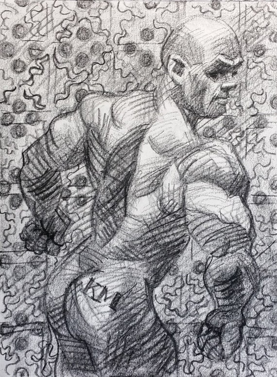 The Clench and the Pattern, 9 x 12 inches artist's crayon on sketchbook paper by Kenney Mencher (gay art)