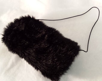 Black Muff Faux Fur Adult Unimitten