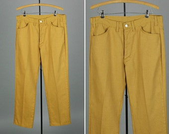 1960s mens pants • MOD gold & brown stripe denim
