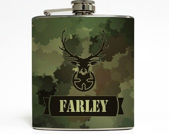 Buck Hunter Camo Whiskey Flask Gun Season Hunting Deer Camouflage Guys Groomsmen Dad Men Gift Stainless Steel 6 oz Liquor Hip Flask LC-1609