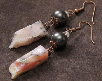 Pink Parfait earrings: Wire wrapped rough pink opal, dark gray Swarovski pearls, copper, rose quartz