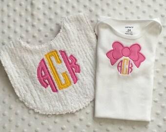 Baby Girl  2 Piece Gift Set, Monogrammed Bib and  Bodysuit, Circle Monogram