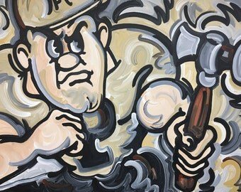 30x40 Officially Licensed Purdue University Painting Justin Patten Art College Football Basketball Purdue Pete Train Boilermaker Express