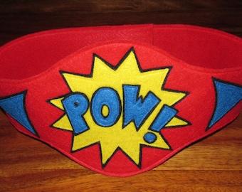 Superhero Belt / Superhero Pow Belt / Superhero saying Belt / kids costume / Custom Belt