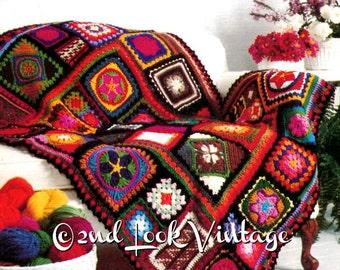 Vintage Crochet Pattern 1970s Granny Square Afghan Crazy Quilt Digital Download