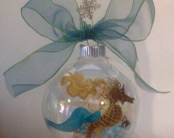 Mermaid and seahorse ornament