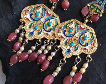TSARINA EARRING russian vintage antique inspired enameled gold ruby   pearl hand crafted artisan jewelry