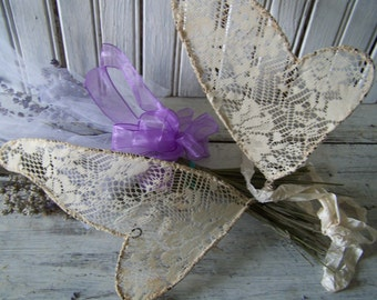 Handmade Fairy Wings Vintage LaceTea Dyed Ecru Color Silk Ribbon and Flowers Cottage Shabby Chic Wall Decor