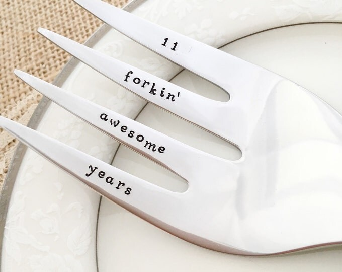 11th anniversary gift. 11 forkin awesome years. Traditional stainless steel serving fork gift. hand stamped