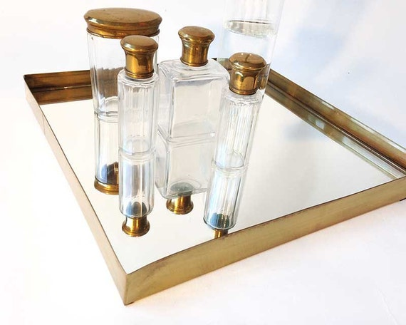 Items similar to brass brass mirror tray serving tray for Decorative bathroom tray
