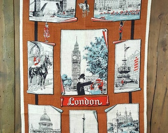 Vintage Linen Dish Towel, London England, Made in Ireland, Greenisle, Color Fast, Pub Kitchen Tea Towel