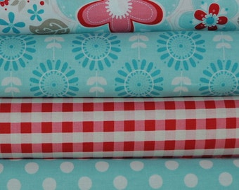 Twice as Nice Blue 4 Fat Quarters Bundle by The Quilted Fish for Riley Blake, 1 yard total