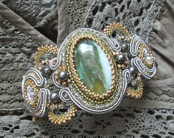 FAIRY QUEEN Soutache Embroidered Bracelet with Green Opal, Swarovski crystal and Pyrite